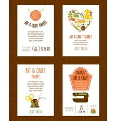 Hand craft market posters set vector