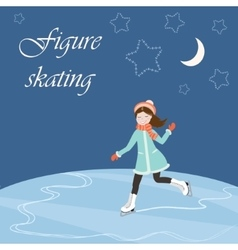 Figure skating with text vector