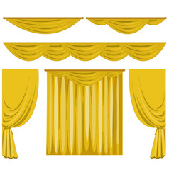 Different pattern of yellow curtains vector