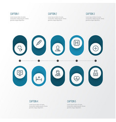 Drug outline icons set collection of hospital vector