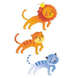 cute cartoon lion tiger cat vector image