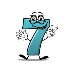 Happy number 7 making a victory sign vector