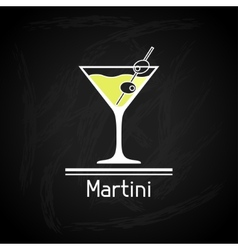 with glass of martini for menu cover vector image