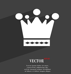 Crown icon symbol flat modern web design with long vector