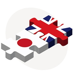 Japan and united kingdom flags in puzzle isolated vector
