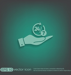 Hand holding a character 24 7 vector