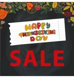 Thanksgiving day SaleAutumn leavesChalkboard vector image