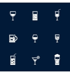 Set isolated goblet and glasses object vector