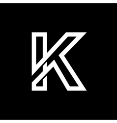 Capital letter k from the white interwoven strips vector