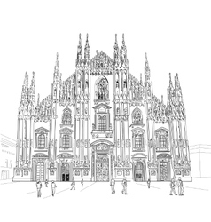 Sketch Milan Cathedral vector image