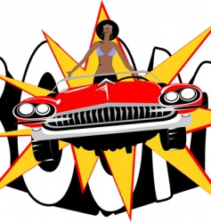 retro car woman vector image