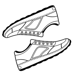 Pair unisex black outlined sneakers shoes vector