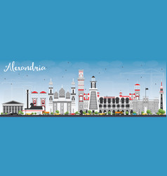 Alexandria skyline with gray buildings and blue vector