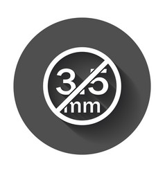Audio jack 35mm in ban sign icon with long shadow vector