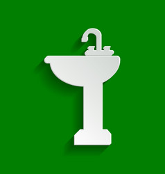 Bathroom sink sign paper whitish icon vector