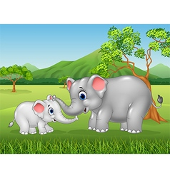 Cartoon elephant mother and calf bonding relation vector