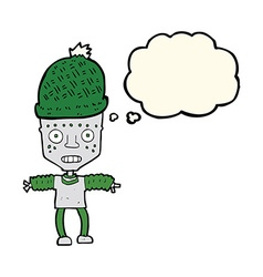Cartoon robot wearing hat with thought bubble vector