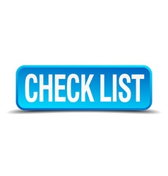 check list blue 3d realistic square isolated vector image vector image