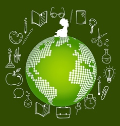 Children read a book on modern globe with vector image vector image