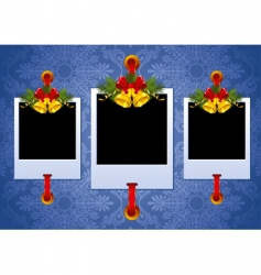Christmas photo frame with bells vector image vector image