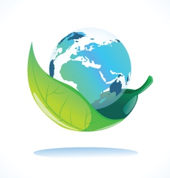 earth in leaf vector image