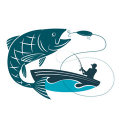 fish jumping for bait and a fisherman in a boat vector image