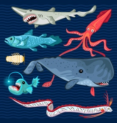 Fish Of The Deep Blue Sea Collection Set vector image vector image