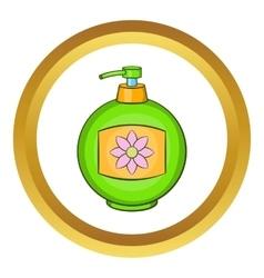 Green plastic bottle of liquid soap icon vector