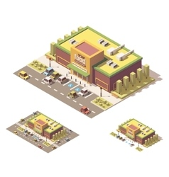 isometric low poly supermarket vector image vector image