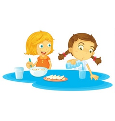 Kids having breakfast vector image vector image