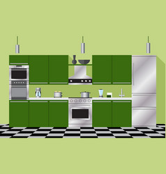 Kitchen furniture and appliances green vector