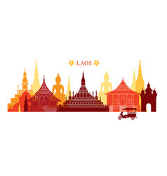 Laos landmarks skyline colourful vector