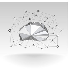 low poly technological cloud with lattice and dots vector image vector image