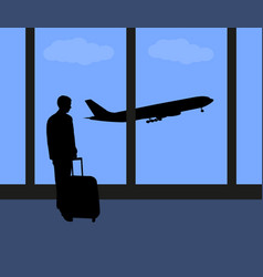 man at the international airport vector image