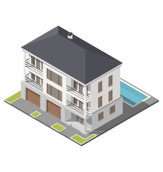 Modern three storey house with slant roof sometric vector