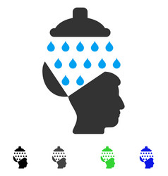 Open brain shower flat icon vector