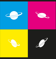 Planet in space sign white icon with vector