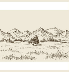 Prairie and mountains panorama vector