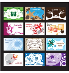 Set of business cards on different topics vector