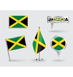 Set of jamaican pin icon and map pointer flags vector