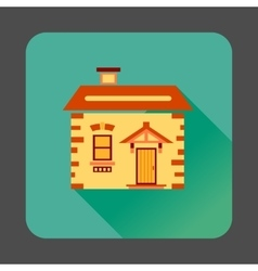 Small wooden house icon flat style vector