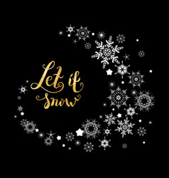 Snow gold lettering vector