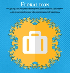 suitcase Floral flat design on a blue abstract vector image vector image