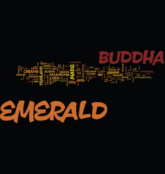 The emerald buddha text background word cloud vector