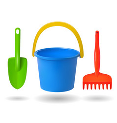 toys for sandbox baby bucket rake scapula vector image