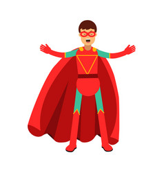 Young masked man in a red superhero costume vector