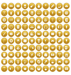 100 cafe icons set gold vector