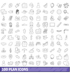 100 plan icons set outline style vector