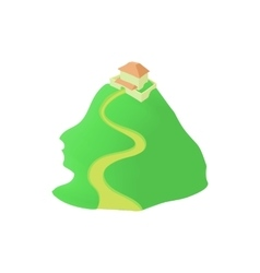 Temple on mountain icon cartoon style vector