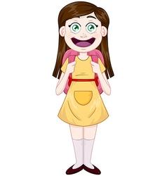 Girl standing with school bag vector